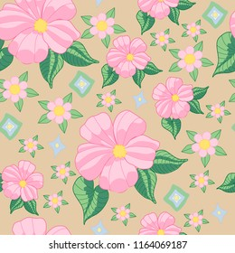 pink hibiscus flower design with green leaves on beige tan seamless background