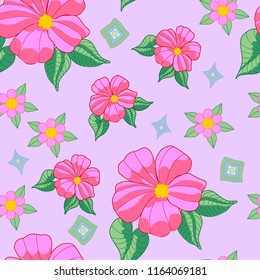 pink hibiscus flower green leaves seamless background pattern
