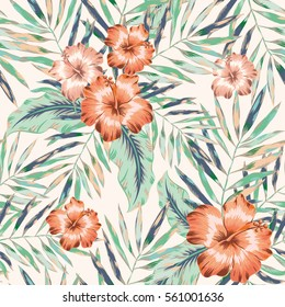Pink hibiscus flowers and palm leaves on the white background. Vector seamless pattern. Faded colors. Tropical jungle illustration.