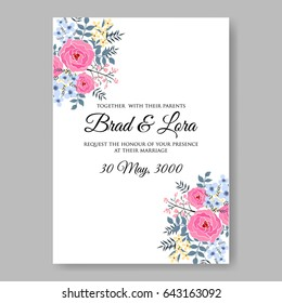 Pink Hibiscus Tropical Flower Wedding Invitation