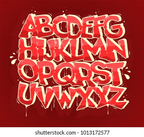 Pink hip-hop graffiti font, vector illustration.