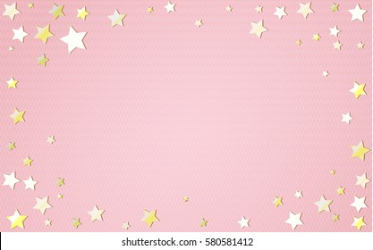pink horizontal background with golden stars vector illustration for your graphic design