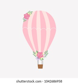 Pink Hot Air Balloon Vector Illustration Art with Flower Accents
