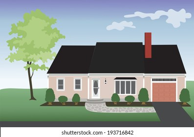 Pink house with a one car garage with a landscaped yard and a tree.