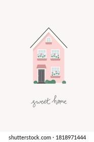 Pink house vector print. Sweet home postcard