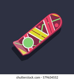 "Pink hover board from the movie ""Back to the Future"" on dark-blue background. Air board mockup. Flying board. Concept of the future. Vector illustration"