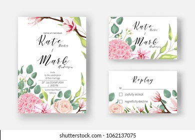 Pink hydrangea, powder rose, blooming magnolia, orchid, fern, eucalyptus and greenery bouquet for Invitation cards for marriage, rsvp reply, Wedding invite template with watercolor flowers. Boho
