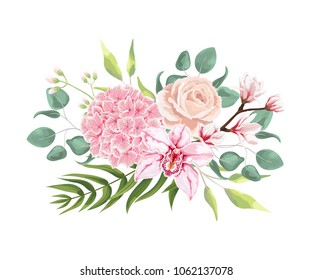 Pink hydrangea, powder rose, blooming magnolia, orchid, fern, eucalyptus and greenery bouquet. Wedding flowers for invitation card design. Vector isolated and editable. Boho rustic style.