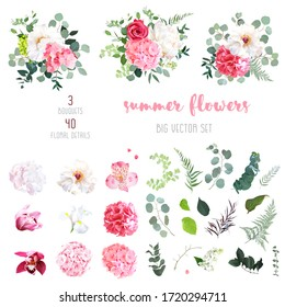 Pink hydrangea, rose, white peony, iris, ochid and sage greenery, flowers, eucalyptus big vector collection. Floral bright watercolor style wedding bouquets. All elements are isolated and editable