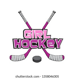 Pink Ice Hockey stick with puck. Hockey girl lettering. Sports Vector illustration isolated on white background. Ice hockey sports equipment. Hand drawn stick in cartoon style