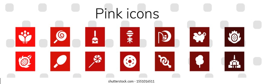 pink icon set. 14 filled pink icons.  Simple modern icons about  - Blossom, Dragon fruit, Lollipop, Cotton candy, Cake pop, Doughnut, Dreamworks, Gender, Piggy bank, Thatbyinnyu temple