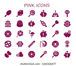 pink icon set. 30 filled pink icons. Simple modern icons about  - Cotton candy, Lollipop, Piggy bank, Thatbyinnyu temple, Candy jar, Gumdrop, Gender, Dragon fruit, Doughnut, Flamingo