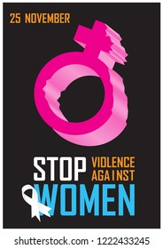 """Pink icon of women broken and the day of event letters with colorful wording about """"International day for the elimination of Violence Against Women"""" and ribbon isolate on black background."""