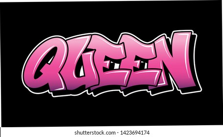 Pink inscription Queen Graffiti decorative lettering vandal street art free wild style on the wall city urban illegal action by using aerosol spray paint. Underground hip hop type vector illustration.