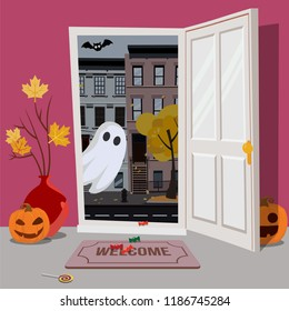 Pink interior of house, decorated for Halloween, pumpkins with faces in hallway, vase maple branches, candy on floor. door is open, Ghost looks inside from street with bat. Flat cartoon illustration.