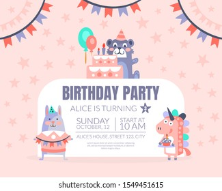 Pink invitation with background of stars for a birthday party. Vector illustration.