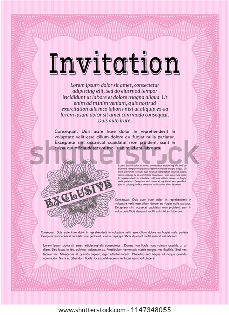 Pink Invitation. Vector illustration. With linear background. Sophisticated design.
