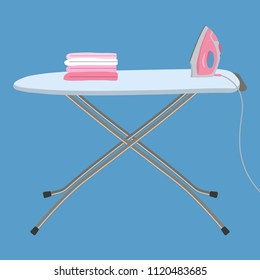 Pink iron and white ironing board isolated on a blue background. There is also a stack of ironed things in the picture. Vector flat illustration.