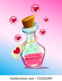 Pink isolated flask of love elixir chemistry. Vector flat cartoon illustration