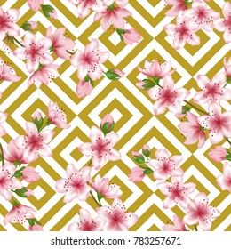 Pink japanese cherry blossom patter with gold white geometric seamless vector background. Soft sakura branch textile, apricot blossom fabric, japanese cherry spring flowering trees textile vector patt