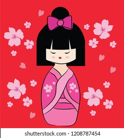 Pink Japanese doll Kokeshi with pink sakura. Cartoon character on red background