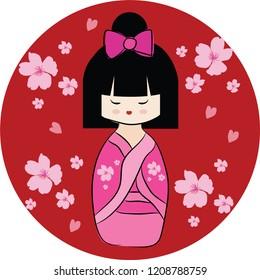 Pink Japanese doll Kokeshi with pink sakura. Cartoon character on red circle background