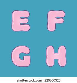 Pink jelly alphabet on blue background - vector illustration