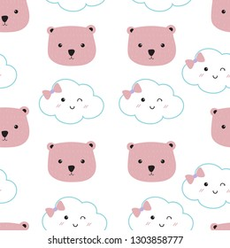 Pink kawaii seamless pattern with cloud and bear