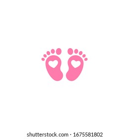Pink kids or baby feet and foot steps with heart. New born, pregnant or coming soon child footprints. Vector illustration isolated on white.