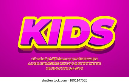 pink kids and yellow 3d text effect design illustrator