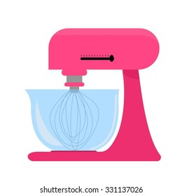 Pink kitchen mixer with bowl. Vector illustration