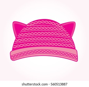 Pink knitted hat with cat ears. Pussy cat hat vector. Fashion trend.