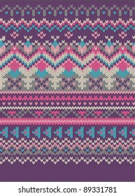 pink Knitted wool pattern background in Fair Isle style