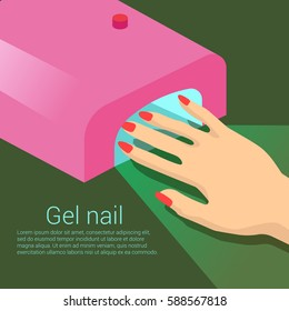 Pink Lamp for Gel Polish. Red Manicure. Isometric Composition.