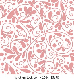 Pink leaf seamless pattern. Ornament. Floral pattern. Paisley elements. Traditional, Arabic, Turkish, Indian motifs. Great for fabric and textile, wallpaper, packaging or any desired idea.