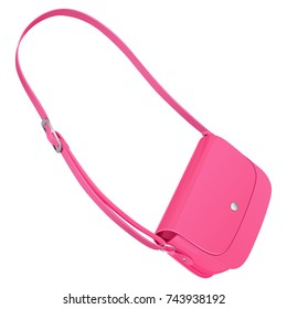 Pink leather handbag on a long strap with a buckle to wear on the shoulder. Vector drawing on white background.