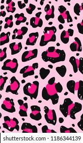PINK LEOPARD PRINT VECTOR PATTERN, GRUNGE ANIMAL PRINT DESIGN