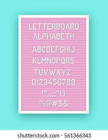 Pink letterboard with white plastic letters, numbers, symbols. Hipster vintage alphabeth 80x, 90x