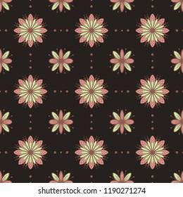 Pink and light green flowers vector seamless pattern on dark background