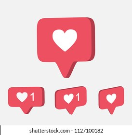 Pink like icon Instagram. like button insta, notification logo instagra, counter vector  illustration eps10