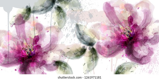 Pink lily flowers banner watercolor Vector. delicate floral blooming decor. Invitation card, wedding ceremony, postcard, Women day greeting. Flow colorful drops. Beautiful pastel color
