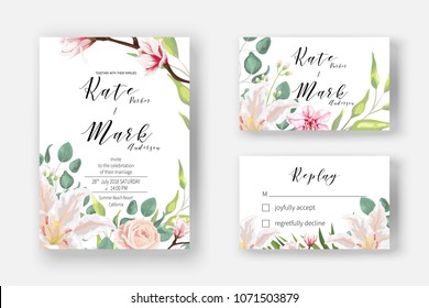 Pink lily, powder rose, blooming magnolia, orchid, fern, eucalyptus and greenery bouquet for Invitation cards for marriage, rsvp reply, Wedding invite template with watercolor flowers. Boho   style.