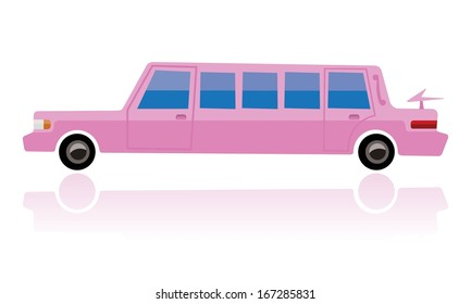 pink limo, funny cartoon style