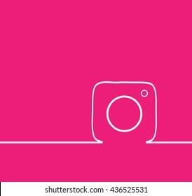 Pink Line Photo Camera background Vector Logo, JPG, JPEG, EPS. Icon Button.instagram Flat Social Media Sign