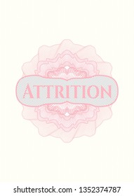 Pink linear rosette with text Attrition inside