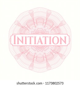 Pink linear rosette with text Initiation inside