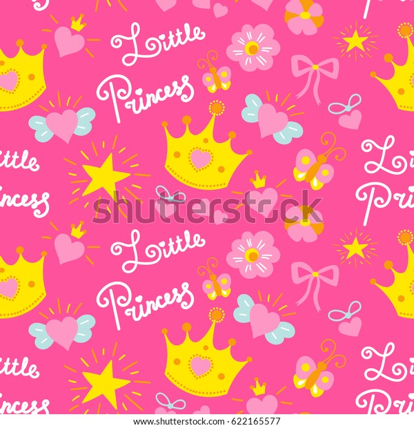 Pink Little Princess Pattern Vector Girl Stock Vector Royalty Free 622165577