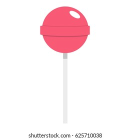Pink lollipop icon flat isolated on white background vector illustration