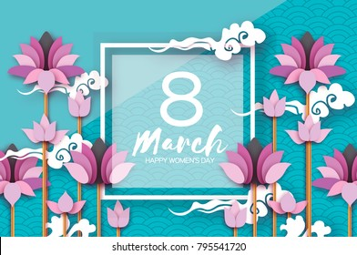 Pink Lotus Floral Greeting card in paper cut style. 8 March. Happy Women's Mother's Day. Origami Water lily flower holiday on blue sky. Square frame. Cloud. Spring blossom. Seasonal holiday.