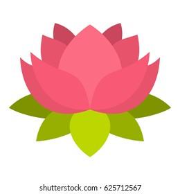 Pink lotus flower icon. Flat illustration of pink lotus flower icon vector isolated on white background